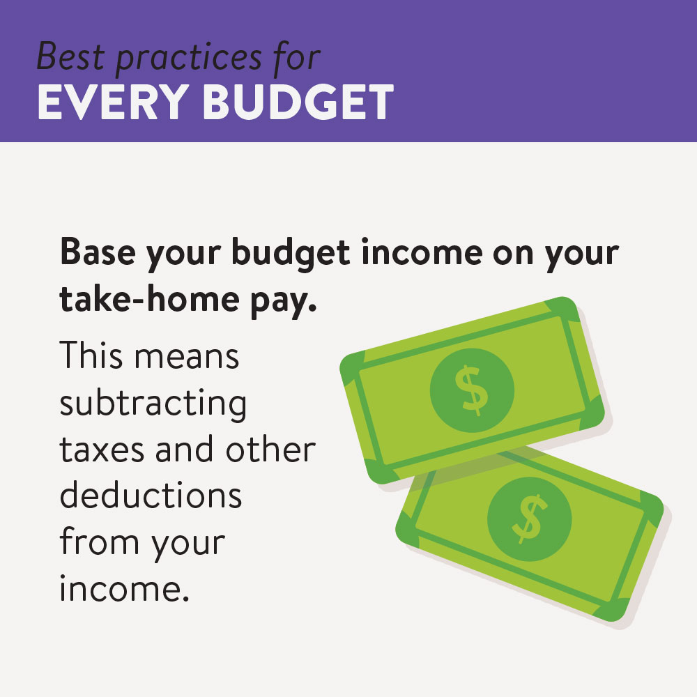 Base your budget income on your net-income or your take-home pay.