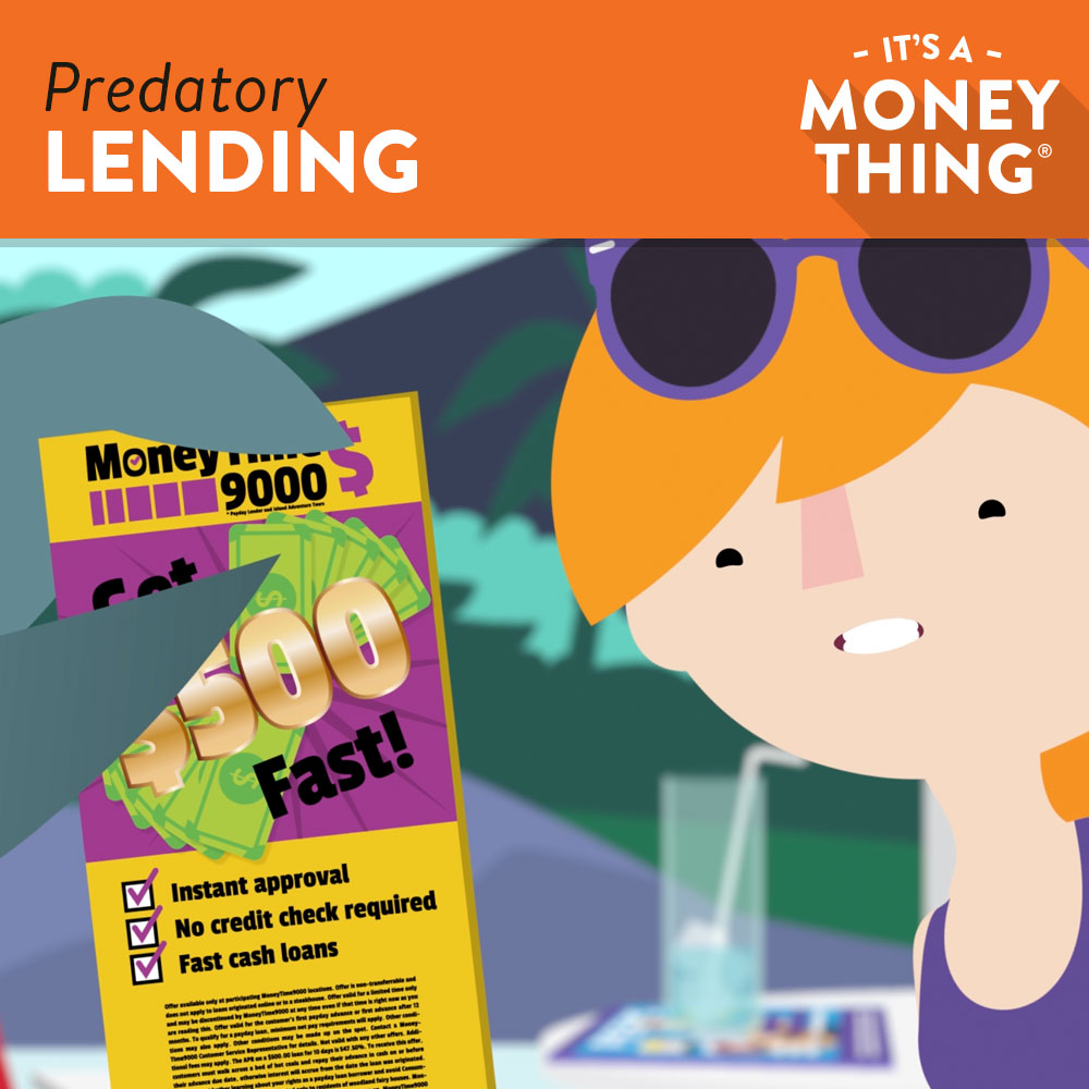 A girl being lured by a predatory lender | predatory lending